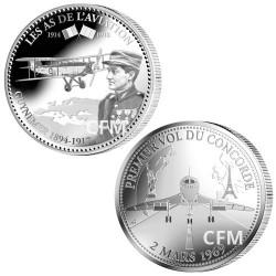 """Lot de 2 pièces commémoratives """"Guynemer, l'As des As"""" + Premier vol du Concorde"""