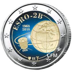 2 Euro Belgique 2018 colorisée - 50 ans du satellite ESRO-2B