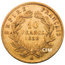 10 Francs Or - Napoléon III Grand module Tête nue - 2nd Empire