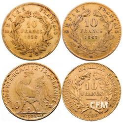 Le coffret des 4 x 10 Francs Or