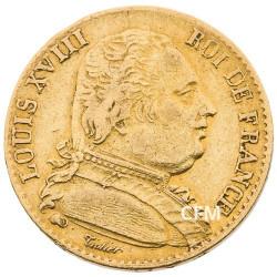 20 Francs Or Louis XVIII Buste Habillé 1815W