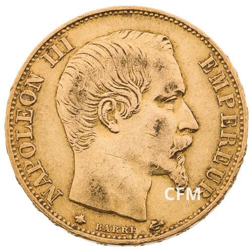 20 Francs Or – Napoléon III - Tête nue 1860BB
