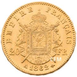 20 FRANCS OR - NAPOLEON III - 1862A