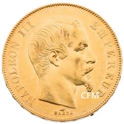 50 F Or Napoléon III - Tête nue - 1855 A