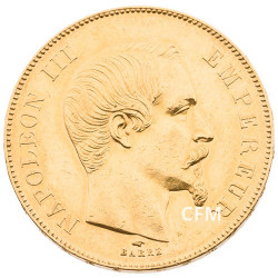50 F Or Napoléon III - Tête nue - 1856 A