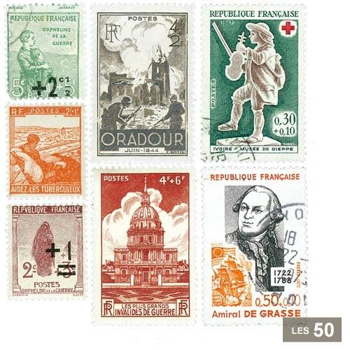 50 timbres France surtaxés