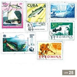 25 timbres Pêche