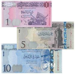 Lot de 3 billets Libye 2013-2015