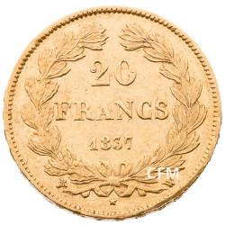 20 Francs Or Louis-Philippe Tête Laurée 1837 W