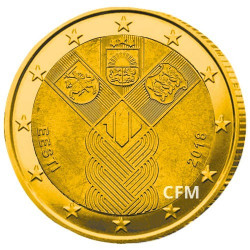 2 Euro Estonie 2018 dorée - 100 ans des pays baltes