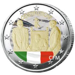 2 Euro Italie 2018 colorisée - 70 ans de la constitution