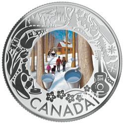 3 Dollars Argent Canada BE 2019 colorisée - Sirop d'érable