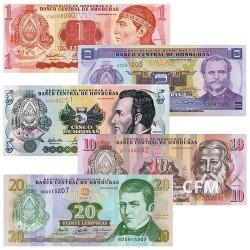 Lot de 5 billets Honduras 2000-2006