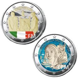 Lot des 2 x 2 Euro Italie colorisées 2018