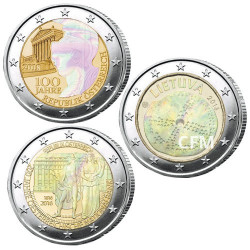 Lot des 3 x 2 Euro Hologramme 2018/2016