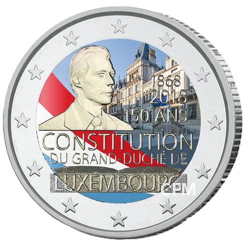 2 Euro Luxembourg 2018 colorisée - 50 ans de la Constitution