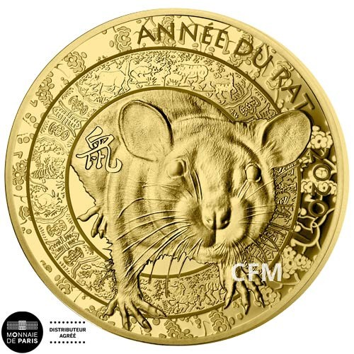 50 Euro Or France BE 2019 - Calendrier Chinois : l'année du rat