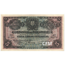 Billet 5 Libras Mozambique 1934