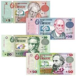 Lot de 4 billets Uruguay 1998-2008