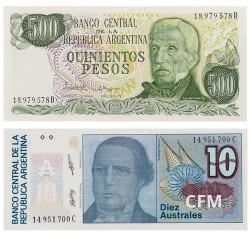 Lot des 2 billets Argentine
