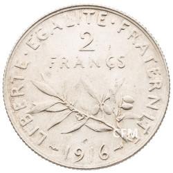 1916 - 2 Francs Argent - type Semeuse 3e République