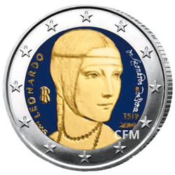 2 Euros Italie colorisée - 500 ans de la mort de Léonard de Vinci