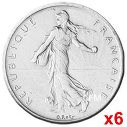 Lot des  6 x 5 Francs Argent Semeuse