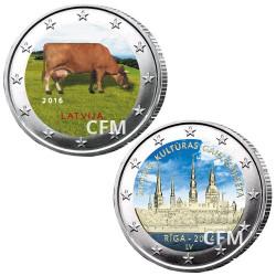 Lot des 2 x 2 Euro colorisées Lettonie 2016/2014