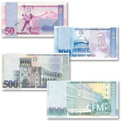 Lot 4 billets Arménie 1998-2002