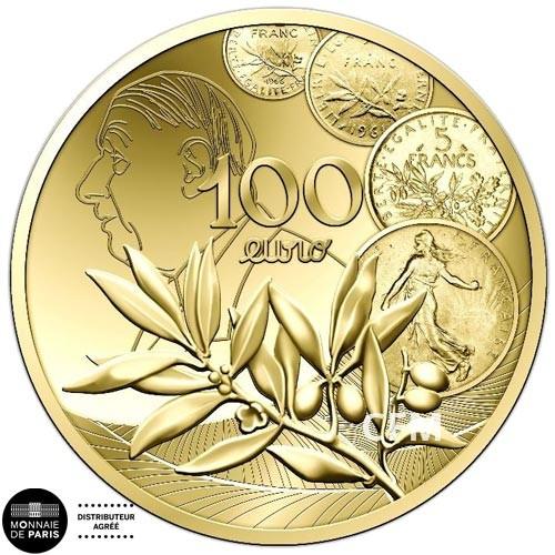 100 Euro Or France BE 2020 Semeuse - nouveau franc