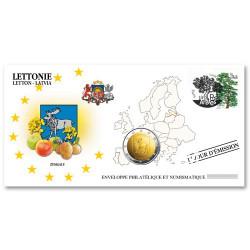 """L'enveloppe """"1er Jour"""" d'émission 2 EuroLettonie 2018 - Zemgale"""