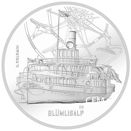 20 Francs Argent Suisse 2019 - Bateau à vapeur Blümlisalp