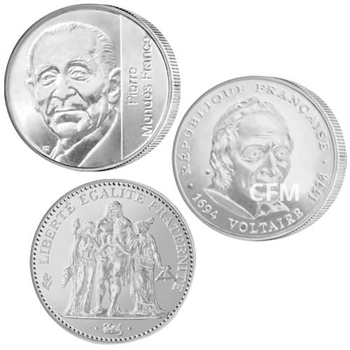 Lot des 3 pièces de 5 Francs