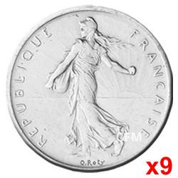 Lot des 9 pièces de 1 Franc Semeuse