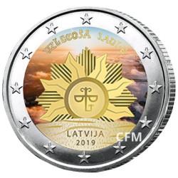 2 Euro Lettonie 2019 colorisée - Lever de soleil