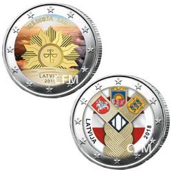 Lot des 2 x 2 Euro colorisées Lettonie 2019/2018