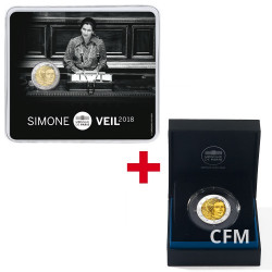 Lot des 2 x 2 Euro BU - BE Simone Veil 2018