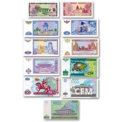 Lot de 11 billets Ouzbékistan 1994-2013