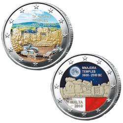 Lot des 2 x 2 Euro Malte 2019-2018 colorisées