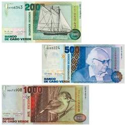 Lot de 3 billets Cap Vert 1992-2002