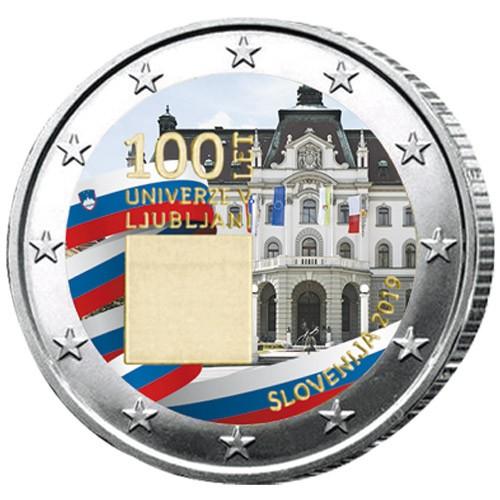2 Euro Slovénie 2019 colorisée - 100 ans de l'université de Ljubljana