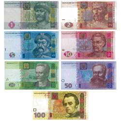 Lot des 7 billets Ukraine 2003-2005