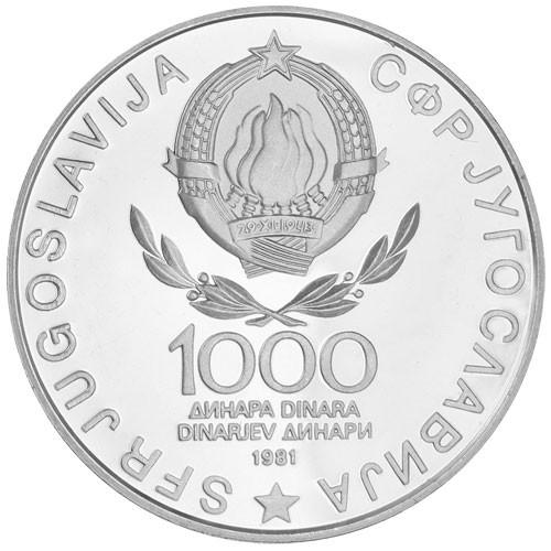 1 000 Dinars Argent Yougoslavie BU 1980