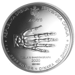 100 Dinars Argent Serbie 2020 - Rayons X - Nikola Tesla