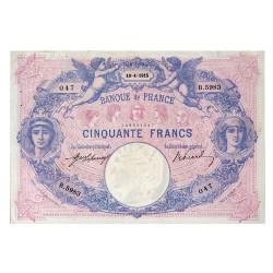 Billet 50 Francs Bleu et Rose