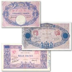 Lot des 3 billets Bleu et Rose