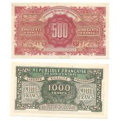 Lot de 2 billets Marianne 1945