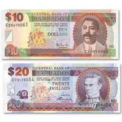 Lot des 2 billets 10 Dollars et 20 Dollars Barbades