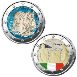Lot des 2 x 2 Euro Italie 2018 colorisées