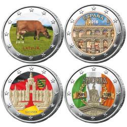 Lot des 4 x 2 Euro 2016 colorisées